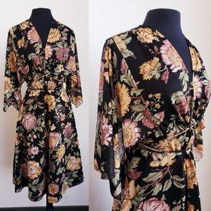 Vintage floral drawstring gypsy dress